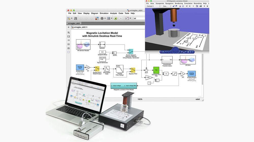 Esperimento per il controllo della levitazione magnetica. Il modello si interfaccia con un hardware esterno usando blocchi di input e output analogico.