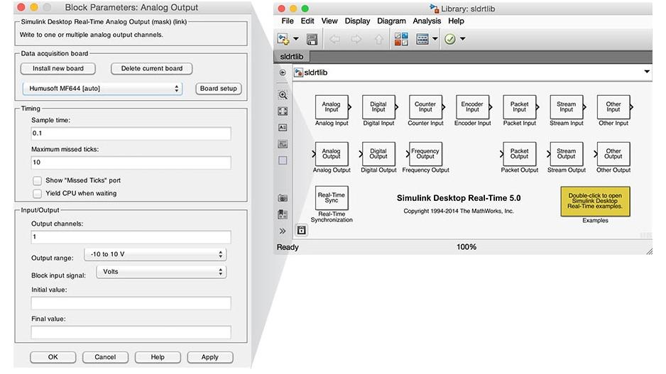 Libreria dei blocchi di Simulink Desktop Real-Time.