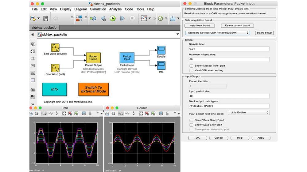 Configurazione dei parametri dei blocchi di stream input e di stream output per un modello Simulink.