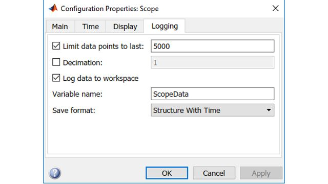 Impostazione dei parametri di scope per il logging nel workspace.