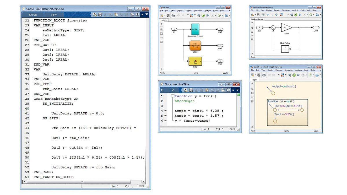 Esempio di testo strutturato ottimizzato. Simulink PLC Coder genera codice ottimizzato e ben integrato da Simulink, Stateflow e funzioni MATLAB.