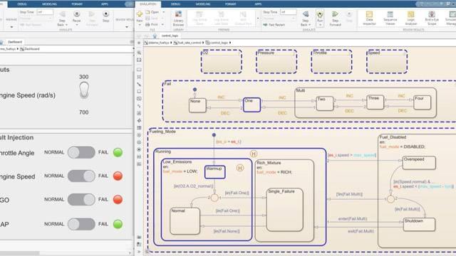 Esecuzione di una simulazione e monitoraggio dati in un diagramma di stato.