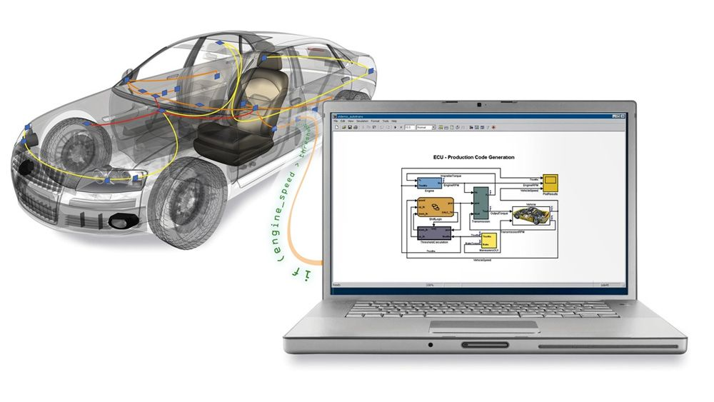 Un'automobile collegata a un computer portatile che viene utilizzato per accedere ai dati del bus del veicolo da MATLAB e Simulink.