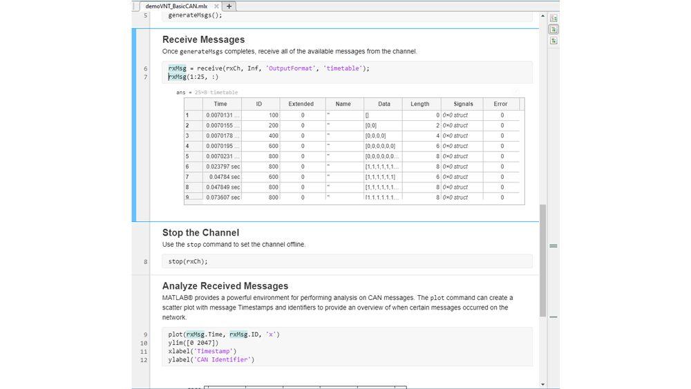 Messaggi CAN in una timetable e un live script per l'analisi.