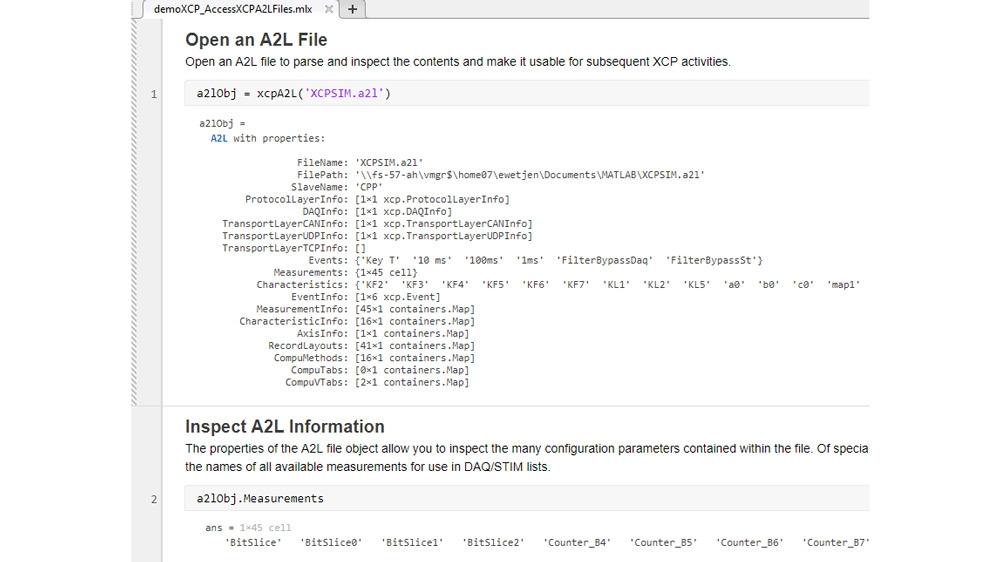 Esempio di codice che illustra come accedere alle informazioni archiviate nei file A2L da usare con le connessioni XCP. Sfrutta un simulatore slave XCP  disponibile gratuitamente dai canali Vector e Vector Virtual CAN.