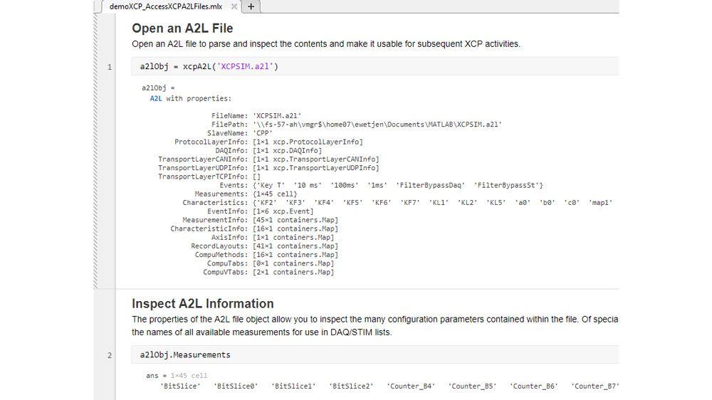 Funzione MATLAB per analizzare e ispezionare un file A2L.
