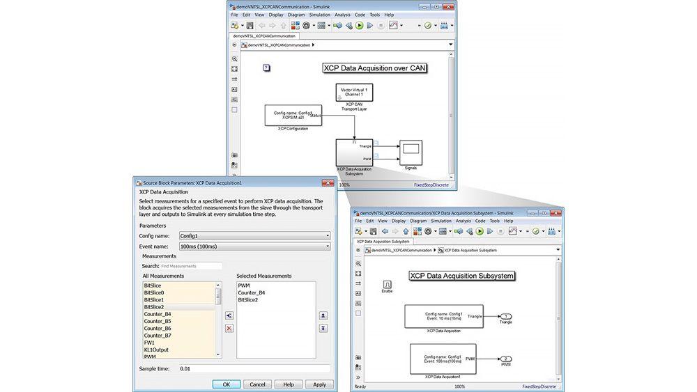 Tre finestre che mostrano un modello Simulink e la maschera del blocco XCP Data Acquisition per configurare l'acquisizione dati XCP.