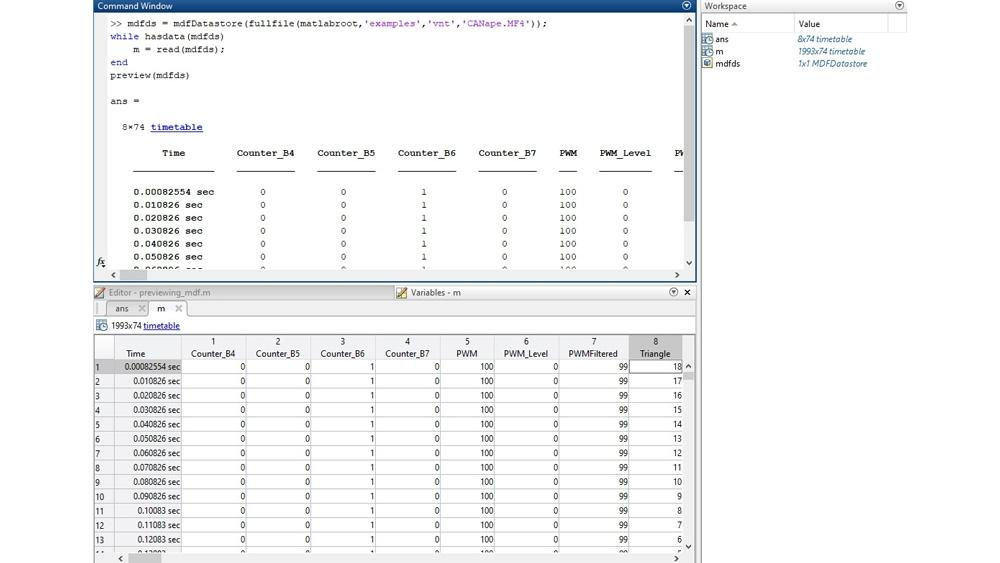 Codice di esempio per visualizzare in anteprima un file MDF nell'interfaccia a riga di comando e ispezionare i dati nell'editor Variabili.