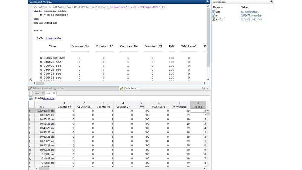Interfaccia MATLAB per ispezionare i file MDF con la funzione di anteprima e l'editor Variabili.