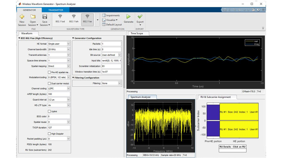 Generazione di forme d'onda 802.11ax con l'app Wireless Waveform Generator.