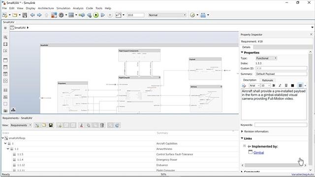 Collega, traccia e visualizza i requisiti agli elementi dell'architettura in System Composer.