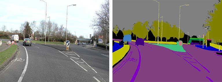 Segmentazione semantica - Etichettatura della scena di un'autostrada