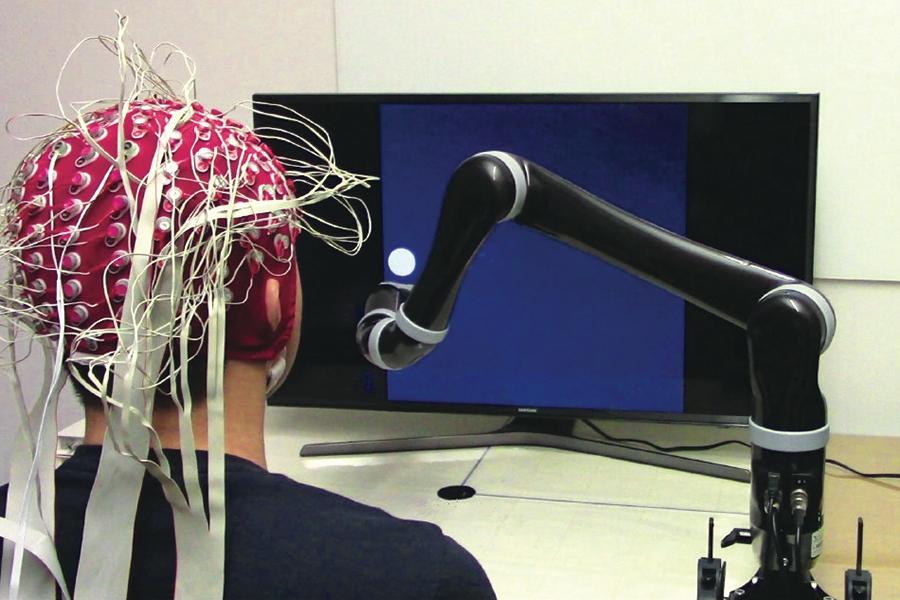 Una BCI (brain-computer interface) non invasiva. Crediti dell'immagine: Carnegie Mellon University