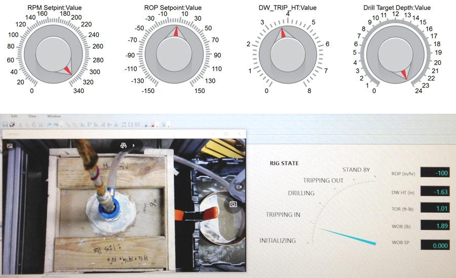 Visualizzazione dello stato di perforazione creata in Simulink Real-Time Explorer e controlli manuali creati in Simulink.