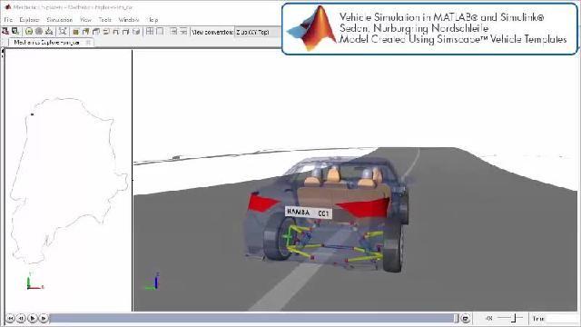Guarda un'animazione che illustra una simulazione su pista con Simscape.