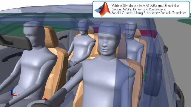 Guarda un'animazione che illustra una simulazione di guida autonoma con Simscape.