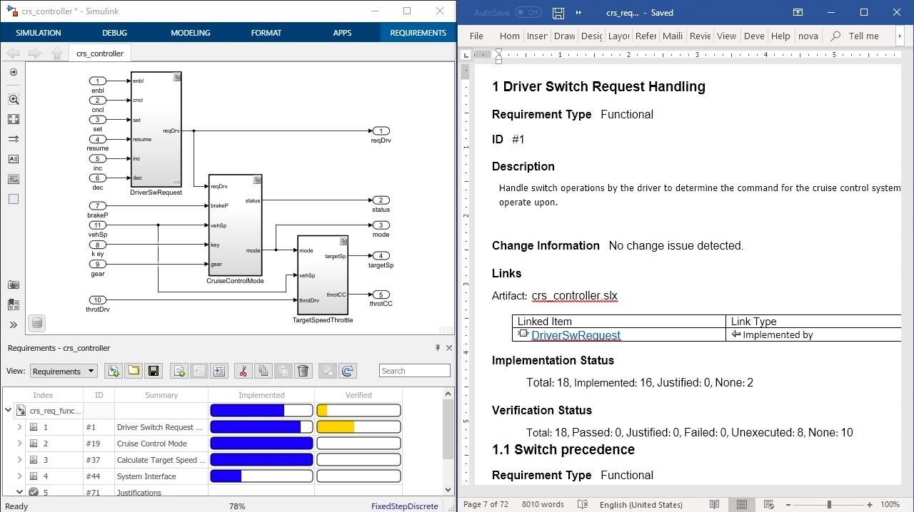 Documenta i tuoi requisiti per la revisione con report da Simulink Requirements e includi nella progettazione, codice e testo gli attributi dei requisiti, lo stato e la tracciabilità.