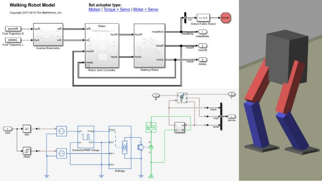 Scopri come modellare un robot deambulante bipede utilizzando Simscapeintegrando delleforze di contatto fisico, dei modelli di attuatori e dei controllori.
