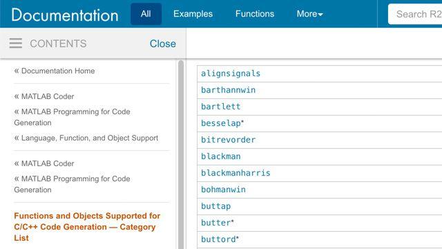 Funzioni supportate per la generazione di codice per l'elaborazione di segnali