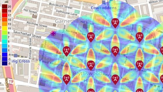 Mappa SINR per un ambiente di test Urban Macro-Cell 5G