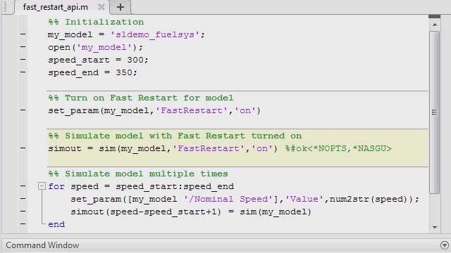 Programmatically run consecutive simulation more quickly using Simulink .