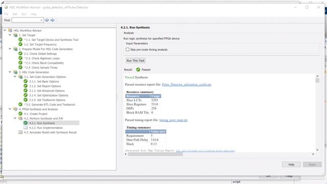Use the HDL Workflow Advisor to prepare, generate, synthesize, and analyze the RTL.