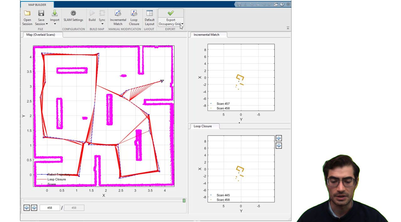 Learn how to create and simulate digital map representations for autonomous navigation of mobile robots and unmanned ground vehicles using MATLAB, Simulink, and ROS-enabled systems.