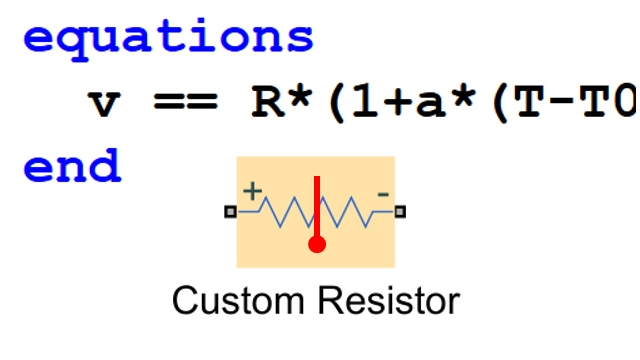 Model a custom electronic component. Simscape extensions to MATLAB are used to define a temperature-dependent resistor.