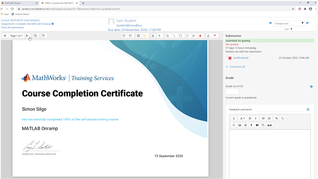 Learn how instructors can use online MATLAB or Simulink courses and Onramp tutorials as assignments within a Learning Management System.